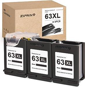 ZIPRINT Remanufactured Ink Cartridge Replacement for HP 63 63XL ECO-Saver for OfficeJet 3830 3630 3631 3632 4650 4652 4655 5252 5255 5258 DeskJet 1112 2130 2132 Envy 4520 4512 (3 Black)