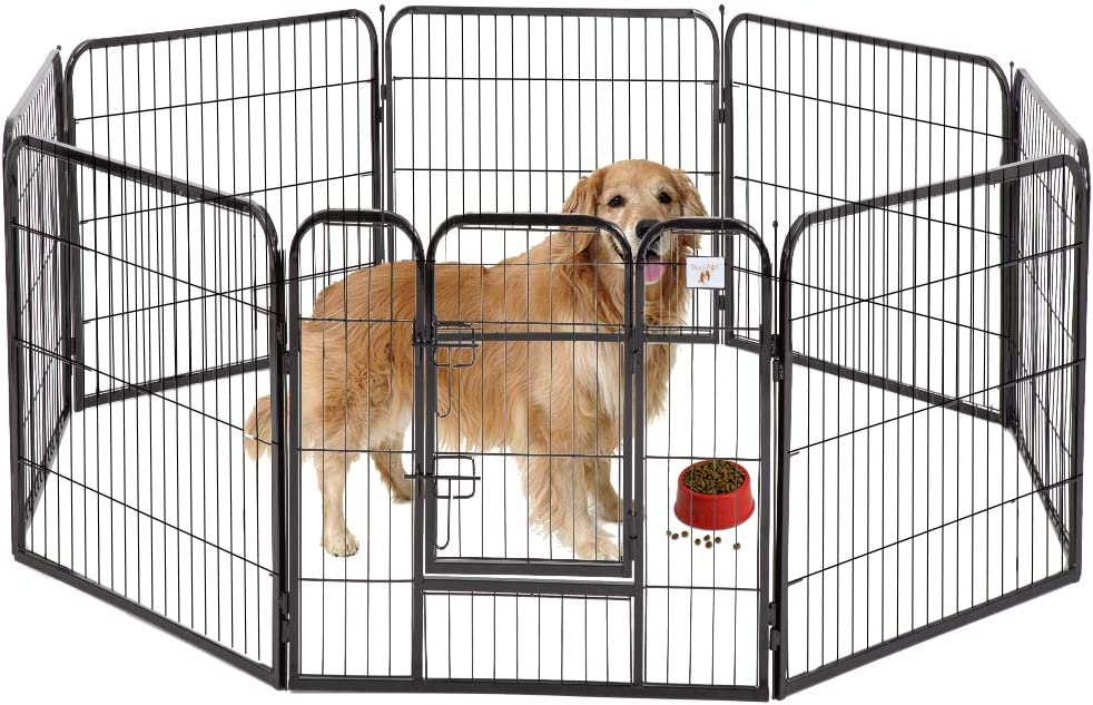 BestPet Pet Playpen 8 Panel Indoor Outdoor Folding Metal Protable Puppy Exercise Pen Dog Fence,24 ,32 ,40