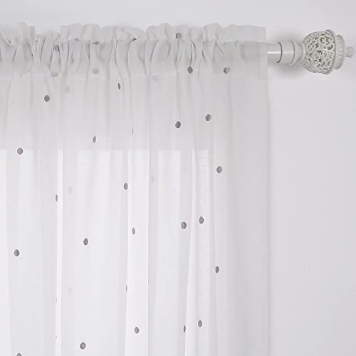 Deconovo Decorative Faux India Cotton Rod Pocket Embroidered Grey Dot Sheer Curtain Panels, 52×96 Inch