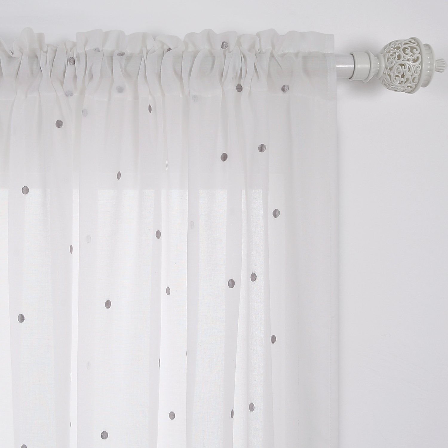 macrame white pin curtain removable rings cotton set wood of with curtains