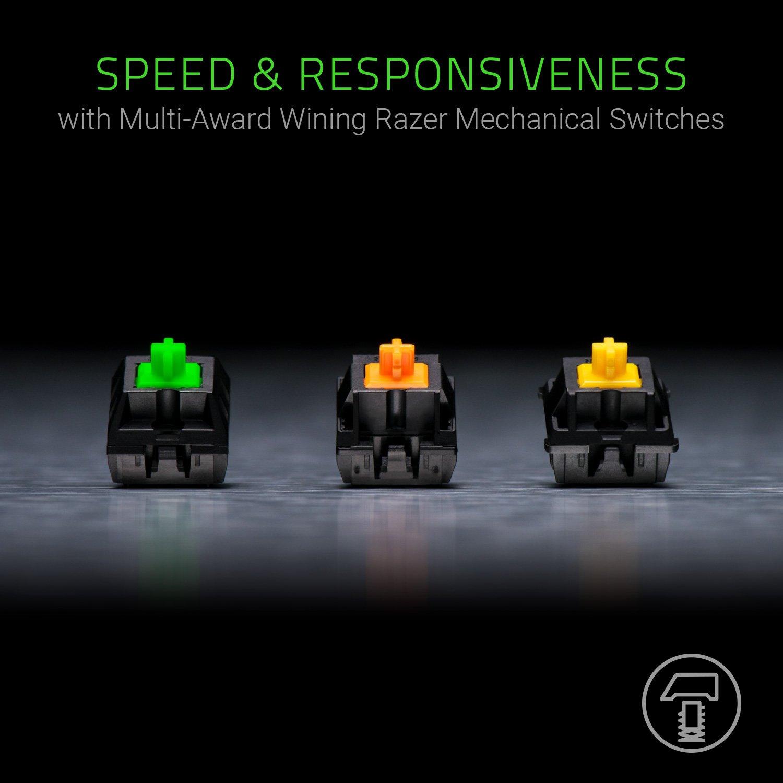 Razer BlackWidow Chroma V2 Esports Gaming Keyboard – Ergonomic Wrist Rest – 5 Dedicated Macro Keys – Razer Green Mechanical Switches Tactile and Clicky