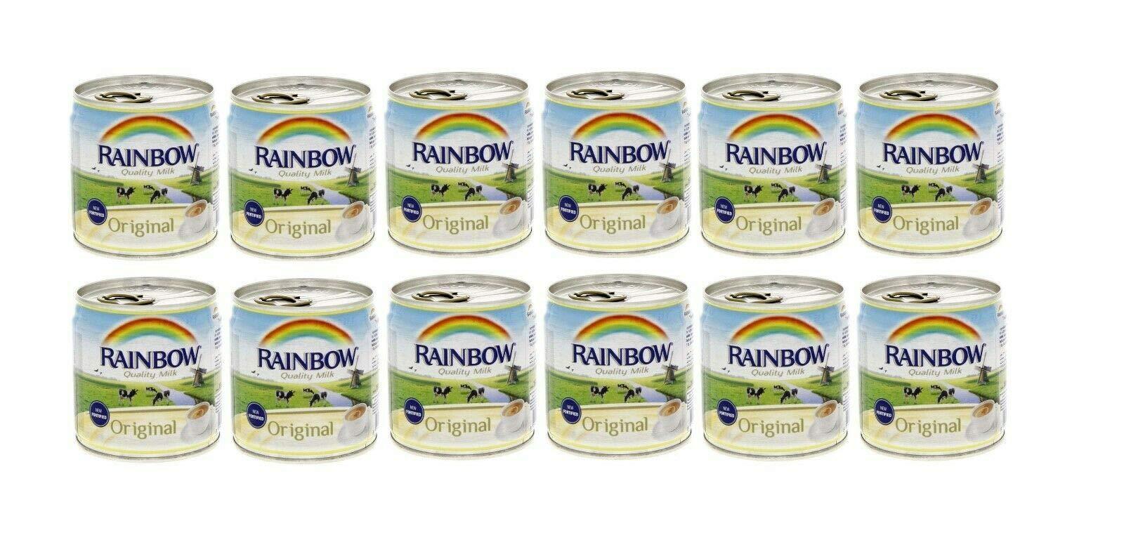 Rainbow Evaporated Milk Full Cream Sterilized 6oz. 170gm each 12 Cans حليب أبو قوس مبخر كامل الدسم افضل صديق للشاي by Al Amin