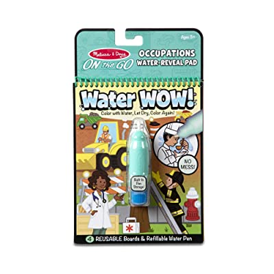 Melissa & Doug On The Go Water Wow! Occupations (The Original Reusable Water-Reveal Activity Pad, Chunky-Size Water Pen, Great Gift for Girls and Boys - Best for 3, 4, 5, 6, and 7 Year Olds): Toys & Games