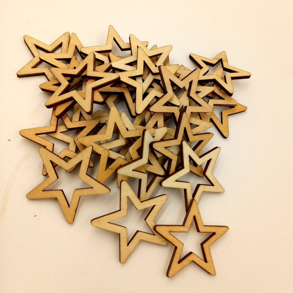 30mm 100Pcs Wood Star Shaped Unfinished Wooden Cutouts Craft DIY Decoration for Parties Embellishments Wedding Table Centerpieces