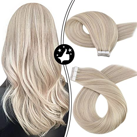 Image ofMoresoo Tape in Extensions Cabello Humano Rubio 14Pulgadas Color #18 Ash Blonde Highlighted with #613 Blonde Tape in Remy Human Hair Extensions 20PCS 40Gram