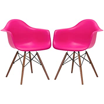 Poly And Bark Vortex Arm Chair Walnut Leg, Fuschia, Set Of 2