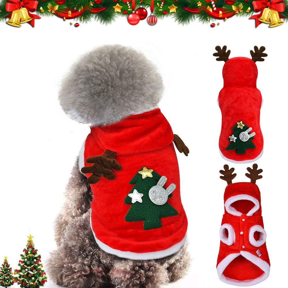 WELLXUNK® Perro Navidad Disfraz, Ropa navideña para Perro, Disfraz de Navidad para Cachorro, Disfraz de Mascota navideña, Ropa para Perros Sudadera con Capucha, Disfraces De Navidad (S)