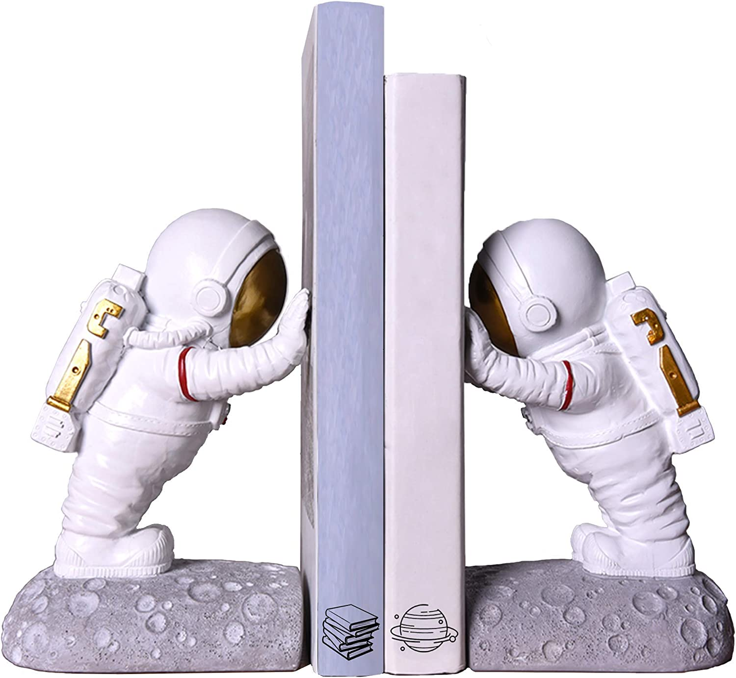 Joyvano Astronaut Decorative Bookend - Book Ends for Office Decorative Bookends for Shelves, Book Holders for Shelves, Bookends Decorative Books, Modern Bookends for Heavy Books Holder, Book Stoppers