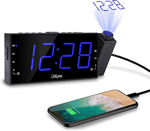 OnLyee Projection Alarm Clock with AM FM Radio 7 LED Digital Ceiling Display, Sleep Timer 180 Projector, Desk Shelf Clock with Dimmer, USB Charging, AC Powered and Battery Backup for Bedroom