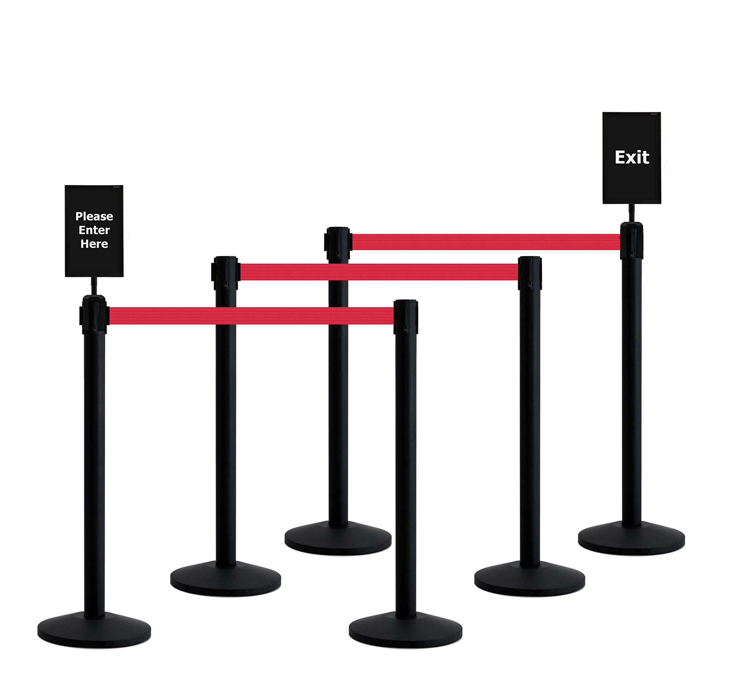 Queueway Crowd Control Retractable Belt Stanchion 6-Pack Kit with Signs USA Made (Red Webbing)