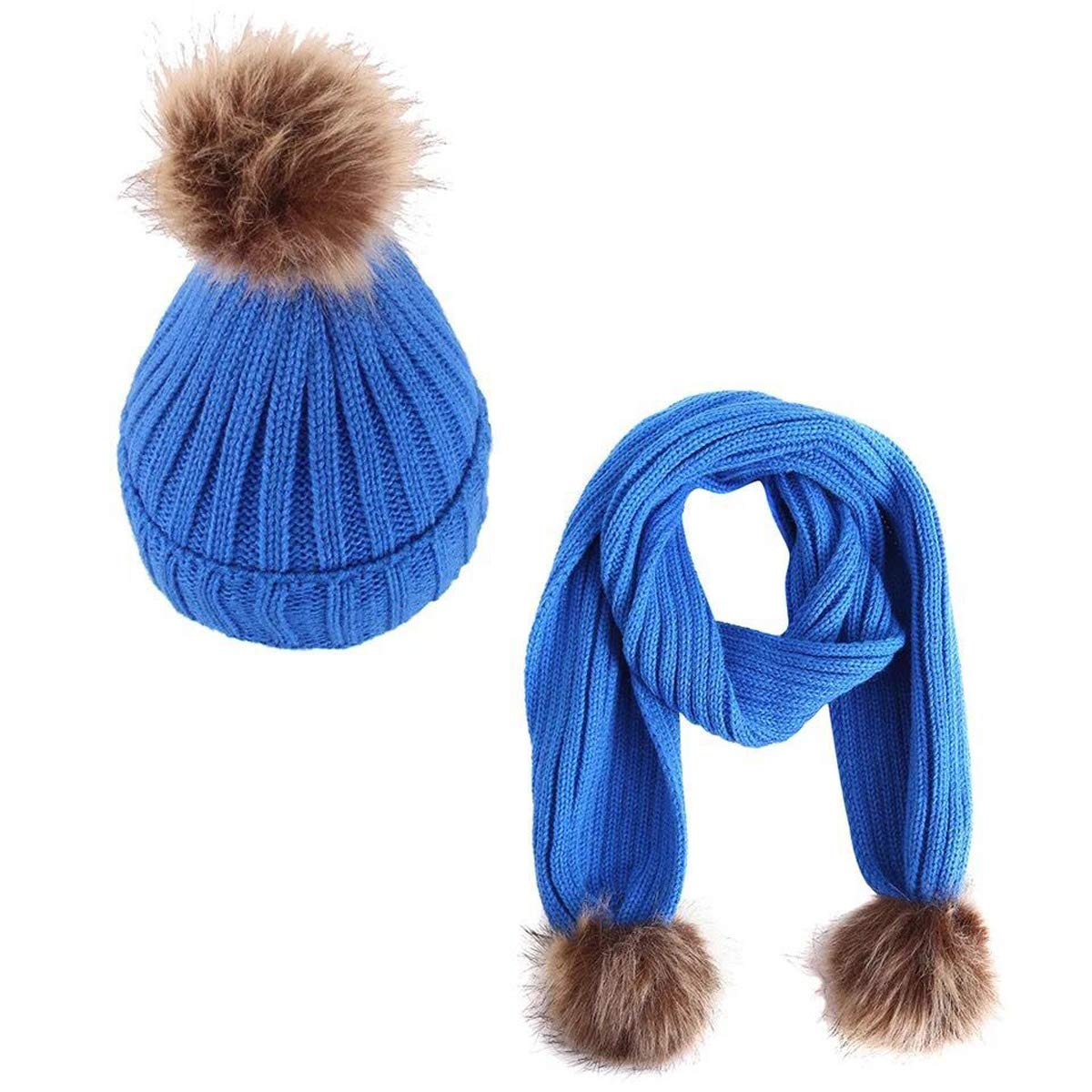 Lanzom 2pcs Baby Girls Boys Winter Hat Scarf Set Infant Toddler Knit Warm Cap + Scarf Neck Warmers Fit 2-8 Years)
