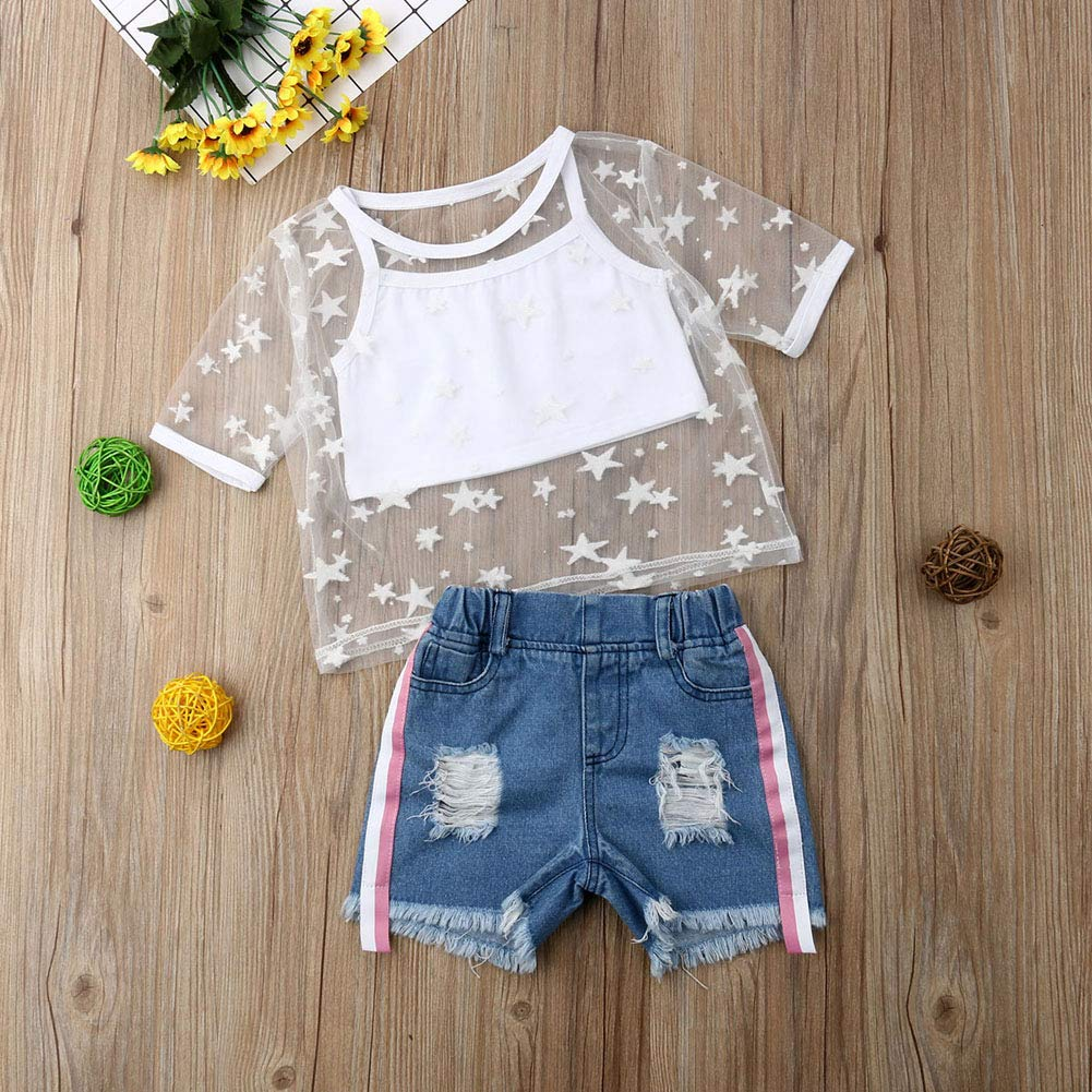 Toddler Baby Girl Summer Outfits Short Sleeve Star Mesh Crop Top Shirts+Ripped Denim Shorts Clothes Set