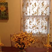 Amazon Com Norbi Fresh Floral Print Tulle Voile Door