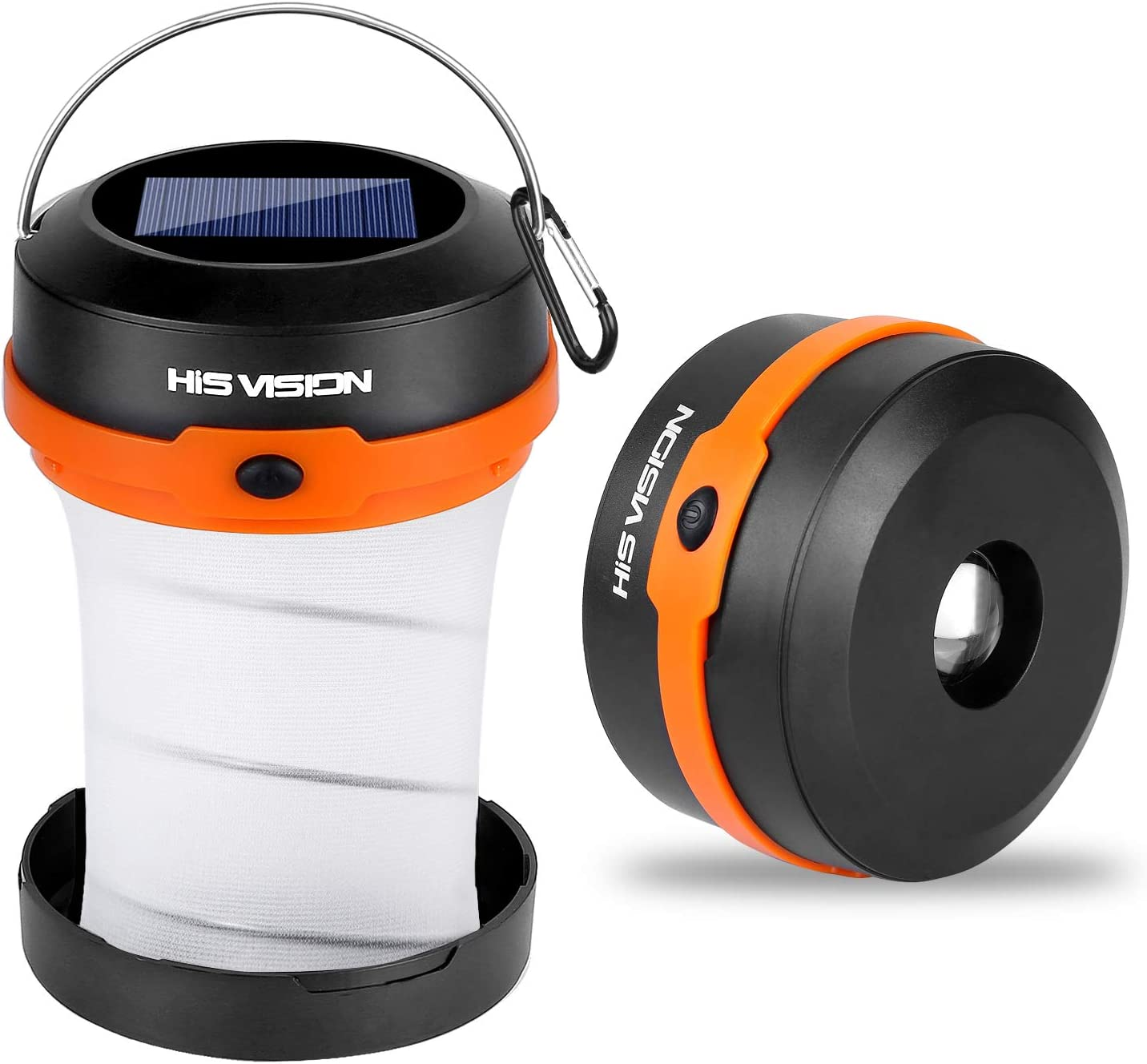HISVISION Solar Powered LED Camping Lantern, Collapsible Design Solar or USB, Chargeable Emergency Power Bank, Portable 4 Modes Emergency LED Lights for Camping Hiking Fishing Tent