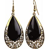 Efulgenz Oxidised Black Gold Plated Dangle & Drop Earrings For Girls And Women