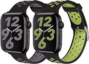 SKYLET Sport Bands Compatible with Apple Watch 42mm 44mm 38mm 40mm, Soft Silicone Breathable Wristbands Replacement Straps Compatible with Apple Watch Series 5 4 3 2 1 for Women Men(Gray,Green)