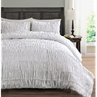 Ruched Bedding 3-Piece Comforter Set, Pinch Pleat Bed Cover