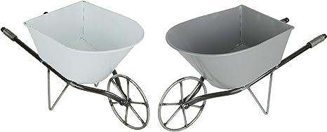 Set of 2 Enamel Painted Metal Decorative Wheelbarrow Planters Gray and White