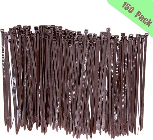 Black 8 inch 100 pcs Nylon Cable Ties Self-Locking Nylon Vertical Zip Ties