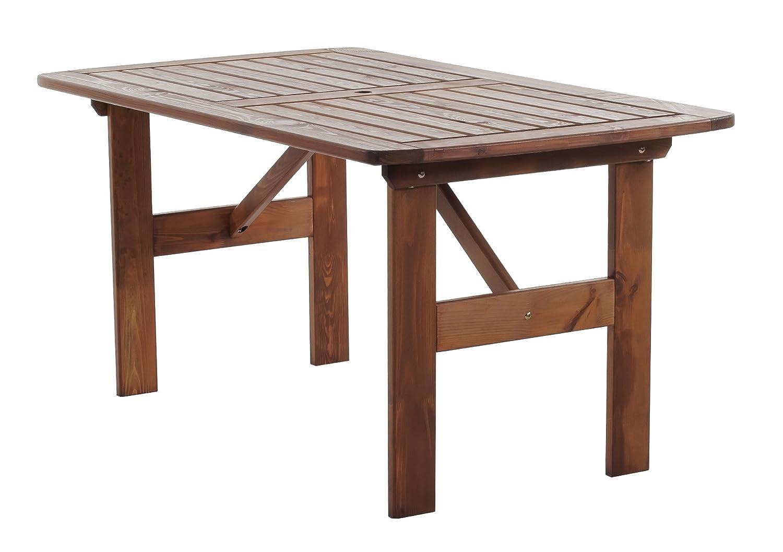 GARDENho.me Massivholz Tisch HANKO MAXI Holztisch Gartentisch, Braun, ca. 140 x 80 cm