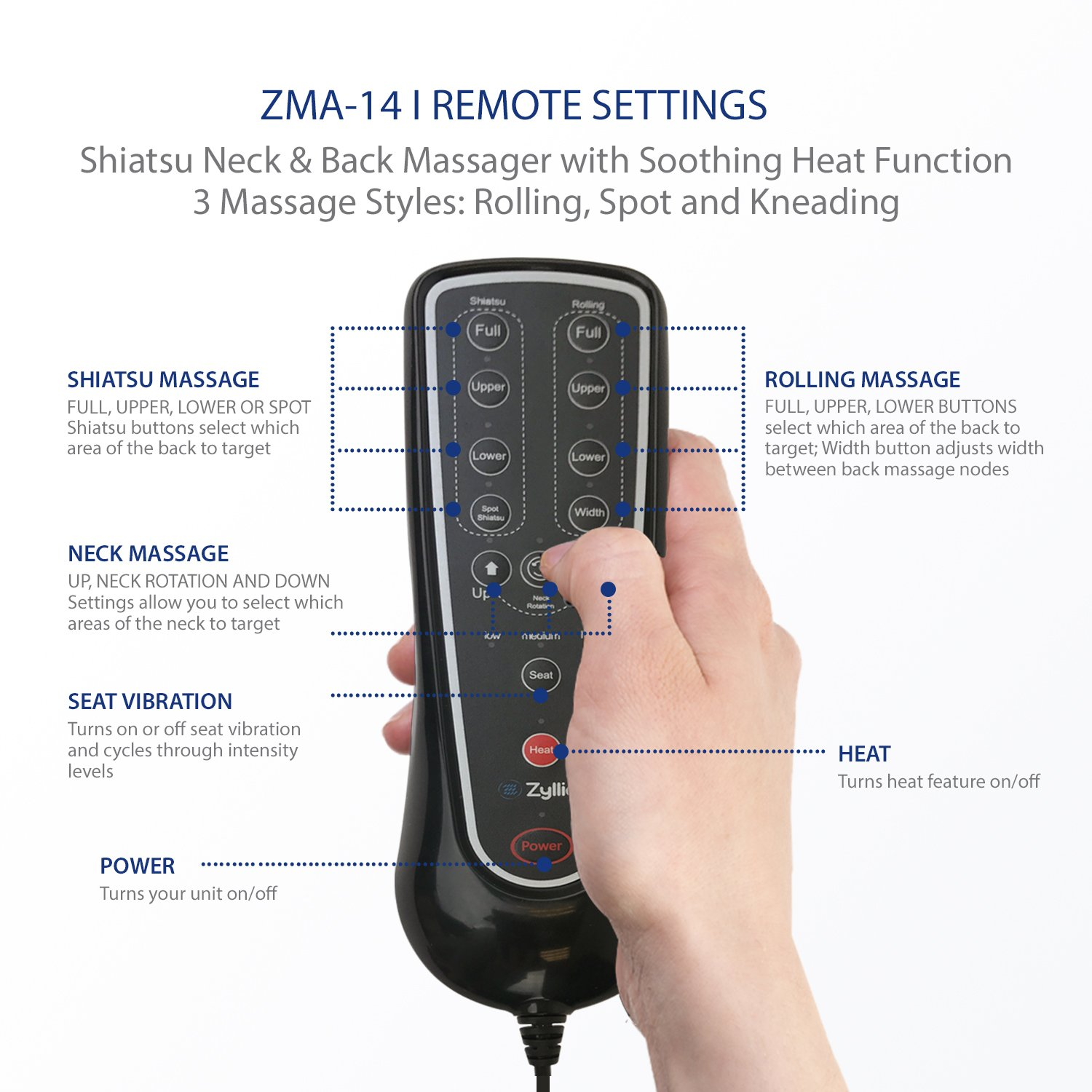 Zyllion ZMA14 Shiatsu Neck & Back Massager Cushion with Soothing Heat Function And 3 Massage Styles Rolling, Spot, and Kneading (Black) One Year Warranty by Zyllion (Image #9)