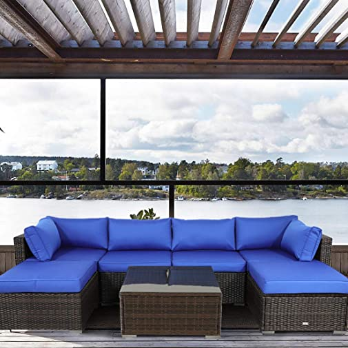 Patio Furniture Sofa Garden Couch Set 7-Piece PE Rattan Sofa Outdoor Sectional Sofa Brown Wicker Royal Blue Cushion