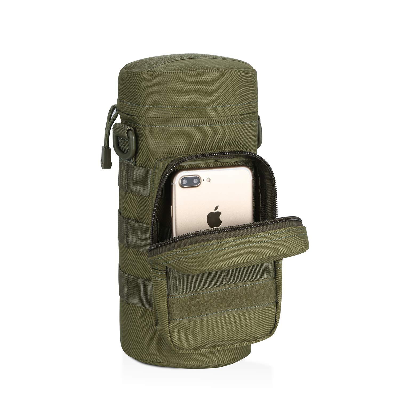 Sac de Bouteille deau style Militaire Camoufl/é Equipement Pochette Sports de Plein Air Tactical Gear Nylon /à Capuche pour Sport// Voyage// Camping// Randonn/ée// Trekking