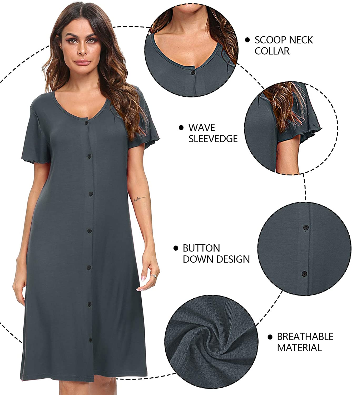 Sexqero Womens Nightgown Short Sleeve Nightshirt Button Down Sleepwear V-Neck Pajama Dress