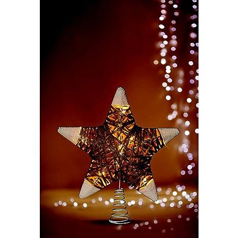 Stella Albero Di Natale Luminosa.Punta Luminosa Per Albero Di Natale A Forma Di Stella In Rattan E