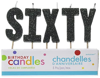 QuotS I X T Yquot Black Glitter Birthday Candles