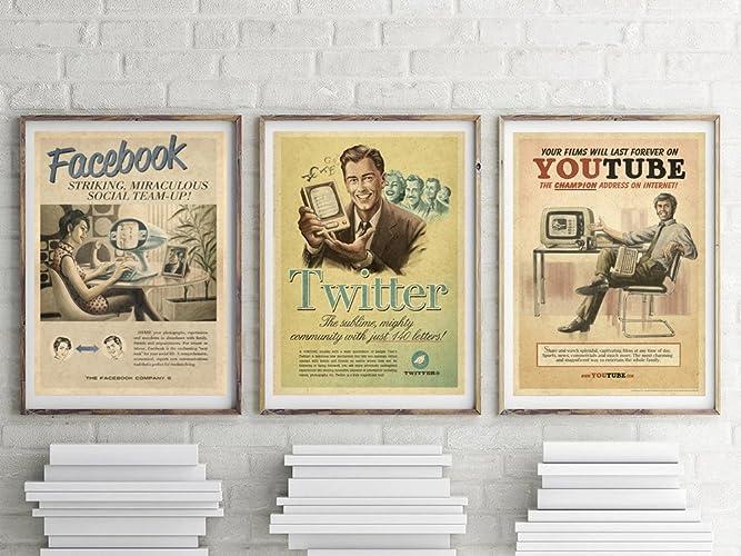Amazon.com: Vintage Print Set, Geek Print Set, Gift for Geek ...