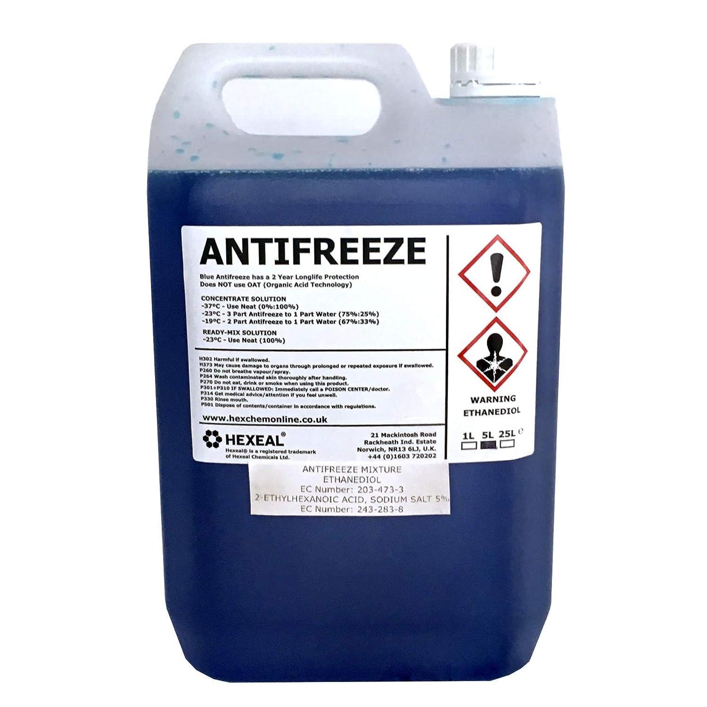 Hexeal BLUE ANTIFREEZE & COOLANT | 5 LITRE | -37 º C | High Concentrate/Longlife | 5L Hexeal®