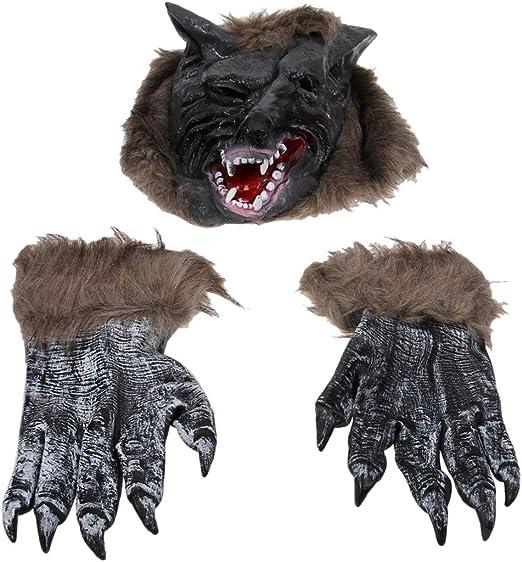 Amosfun 1 juego de guantes de máscara de disfraz de lobo ...