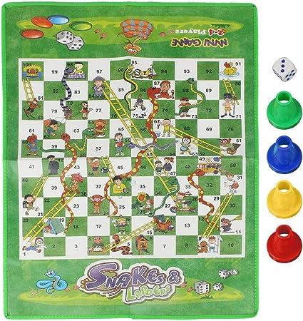Furnoor Niños portátiles Niños Serpientes Escaleras Alfombra de ajedrez Tablero de ajedrez Ludo Family Game Kit: Amazon.es: Hogar
