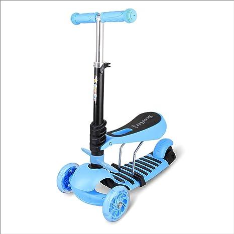 BAYTTER® 3 in 1 Mini mitwachsender Kinderroller Laufrad Dreirad Kinderscooter zum Laufenlernen LED Räder Scooter aus Aluminiu