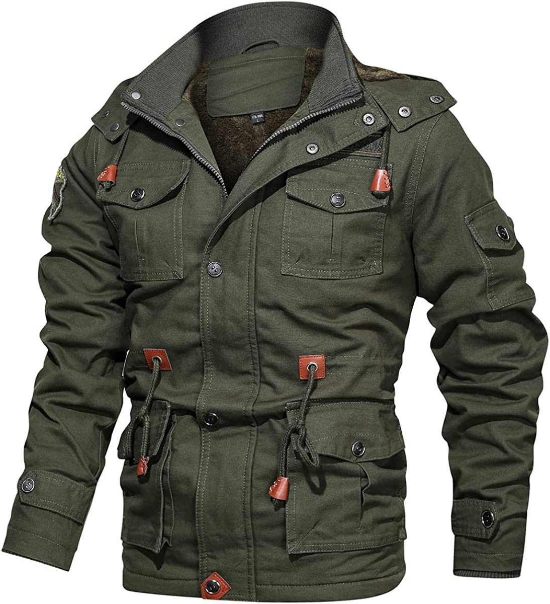 CARWORNIC Men's Winter Warm Military Jacket Thicken Windbreaker Cotton Cargo Parka Coat with Removable Hood: Clothing