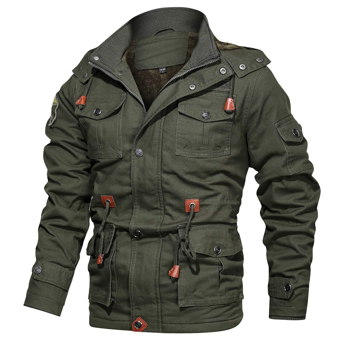 ReFire Gear Men's Winter Warm Military Jacket Thicken Windbreaker Cotton Cargo Parka Coat with Removable Hood by ReFire Gear