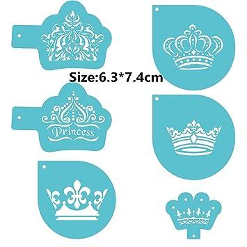 6 pcs paquete coronas Cookie Cake Stencil decorar molde Fondant para galletas herramienta: Amazon.es: Hogar