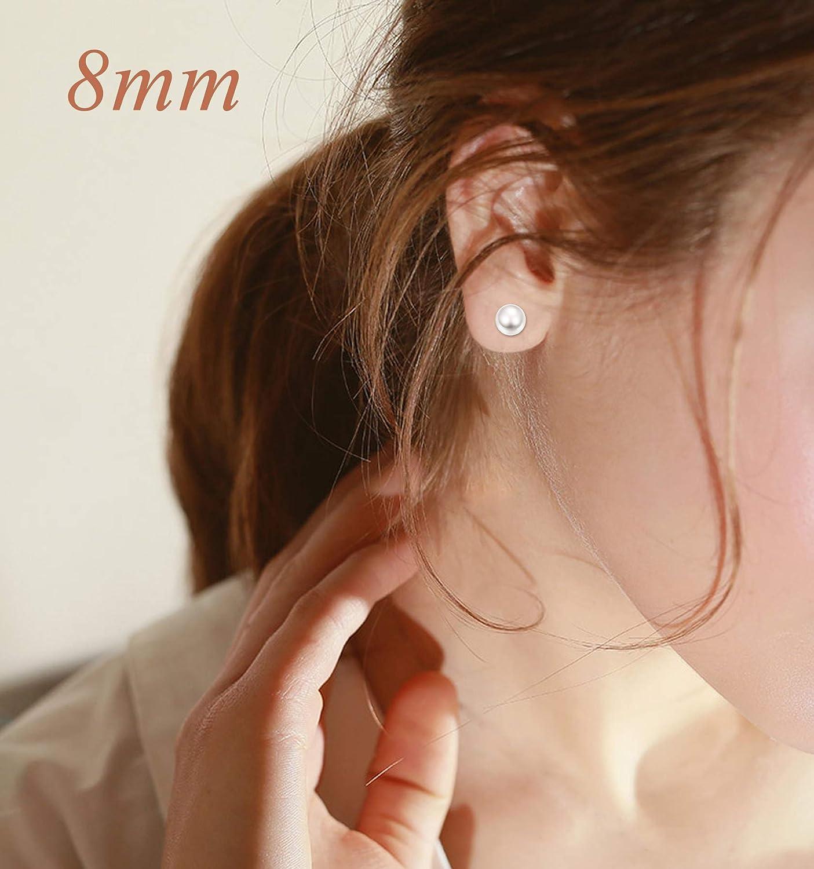 CASSIECA Joyer/ía 3Pares Plata de Ley 925 Perlas de Agua Dulce Pendientes para Mujer Ni/ña Aretes Con Caja de Regalo 6-10mm