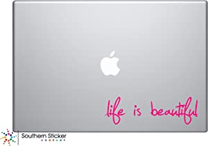 Life is Beautiful Hot Pink Vinyl Car Sticker Symbol Silhouette Keypad Track Pad Decal Laptop Skin Ipad MacBook Window Truck Motorcycle