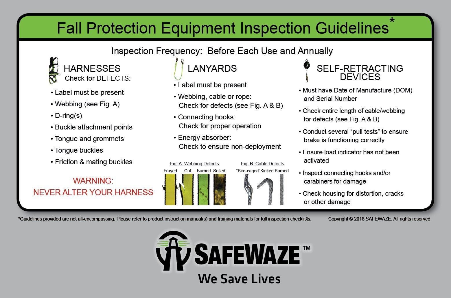 SafeWaze V-LINE Economy High-Profile 6 Foot Energy Absorbing Shock Lanyard with Rebar Hook, OSHA/ANSI Compliant