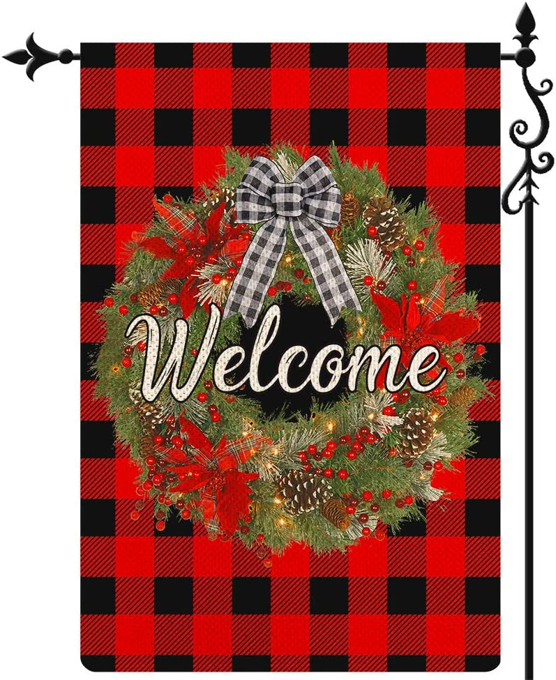 Coskaka Welcome Christmas Wreath Garden Flag Vertical Double Sided Black Red Buffalo Check Plaid Burlap Porch Sign Yard Lawn Outdoor Decor 12.5x18 Inch