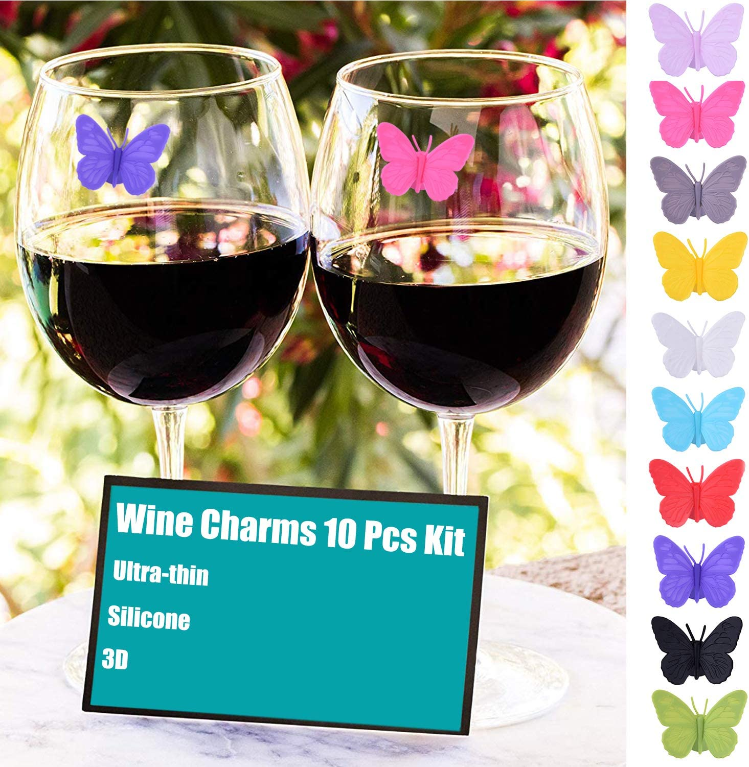 BESTONZON 24 pcs Wine Glass Markers Creative Marine Animals Silicone Drink Markers Suction Silicone Cup Sign Wine Identifier for Martini Champagne Cocktail