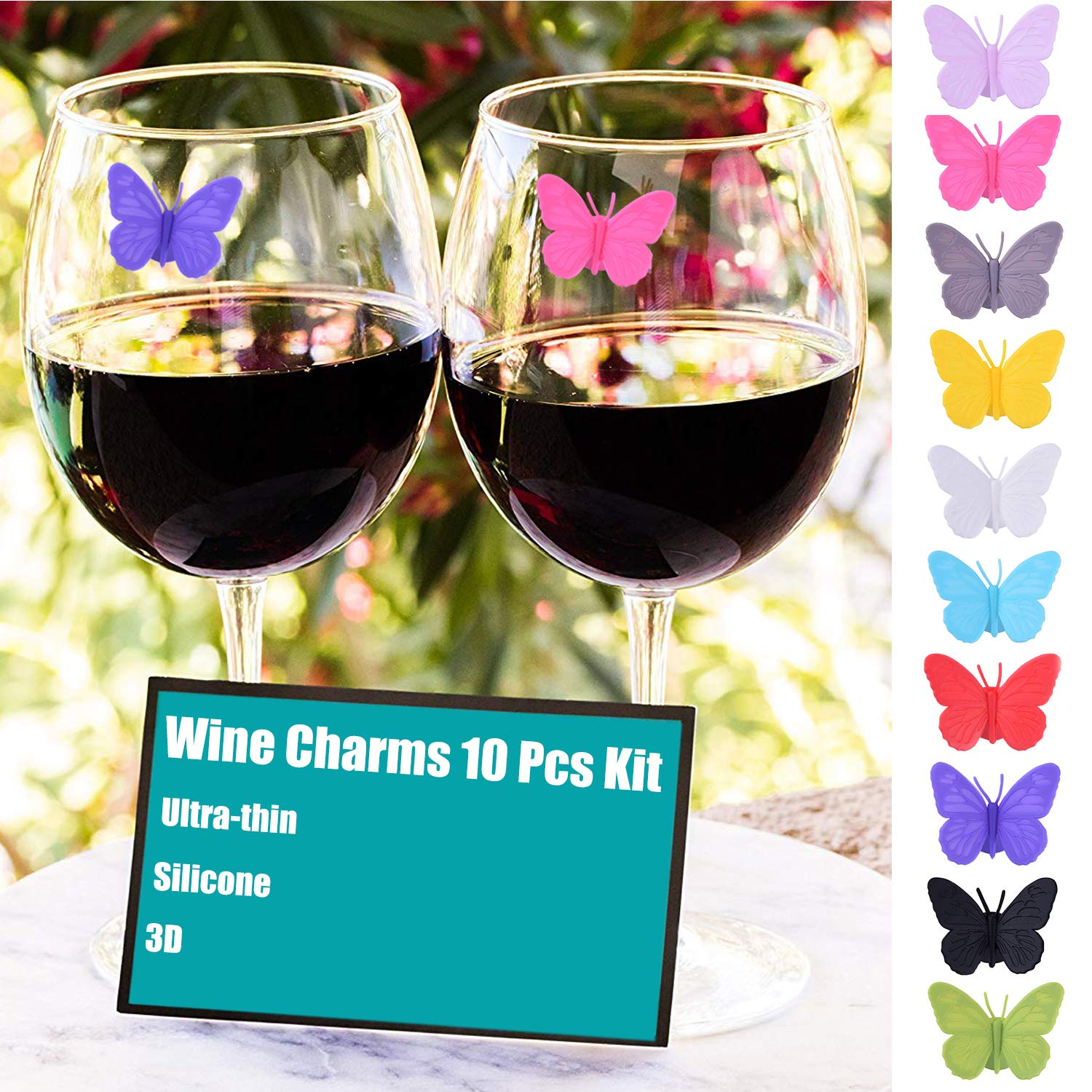 Wine Glass Charms Set of 10 Silicone Drink Glass Markers &Wine Charm Tags with Suction Cup for Stemless Glasses, Beer Mugs & More (Butterfly assorted) by ALYC (Image #3)