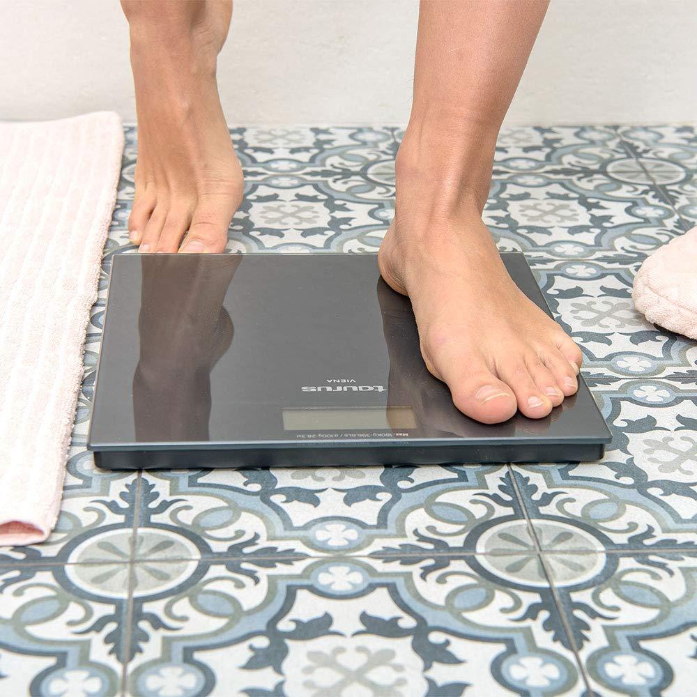 Taurus Viena Báscula de baño Digital, diseño Slim, 28 x 28 x 2 cm, kg/LB, Pantalla Grande, fácil Lectura, máximo 180 kg/mínimo 3 kg, Color Gris ...