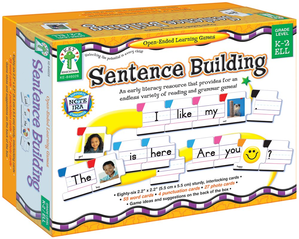 Carson Dellosa - Sentence Building Literacy Resource with 86 Cards for Language Arts For K, 1st, & 2ND Grade & Ell by Key Education