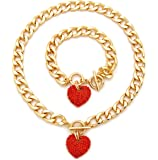 """Women's Pave Filled 3D Heart Pendant 16"""" Cuban Link Chain & Bracelet Set in Gold, Silver Color Plated"""