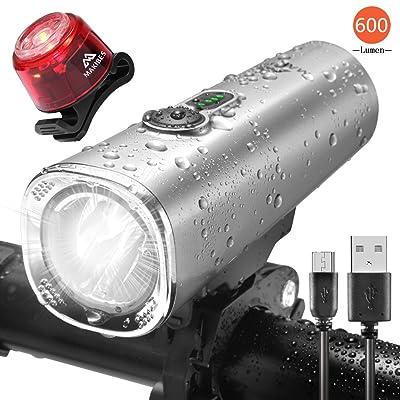 Makibes lumière de vélo, lampe de vélo rechargeable USB LED pour phares avant de vélo Ipx5étanche avec queue arrière lumière