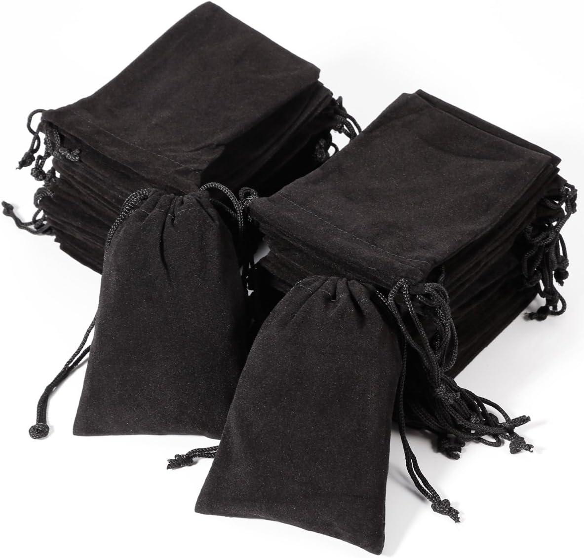 Geschenkbeutel aus Samt 50 St/ück Schwarz 5 x 7 cm mit Kordelzug