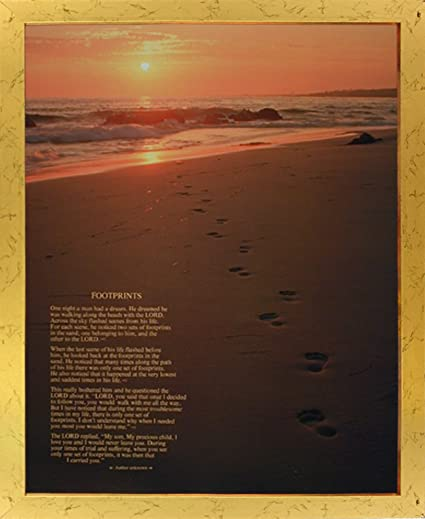 Amazon.com: Impact Posters Gallery Footprints in the Sand Framed ...